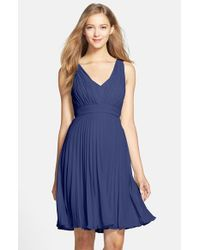 Donna Morgan | Blue 'greta' Pleat Chiffon Dress | Lyst