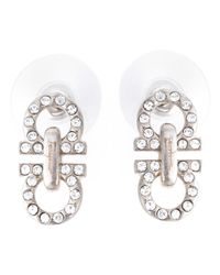 Ferragamo | Metallic Gancini Stud Earrings | Lyst