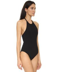 T By Alexander Wang - Black 3x3 Ribbed Halter Bodysuit - White - Lyst