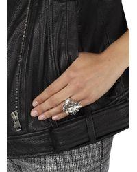 Alexander McQueen | Metallic Silver Tone Punk Skull Ring | Lyst