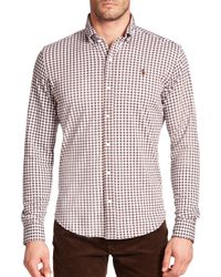 Polo Ralph Lauren | Brown Gingham Knit Dress Shirt for Men | Lyst