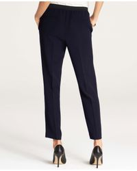 Ann Taylor - Blue Draped Ankle Pants - Lyst