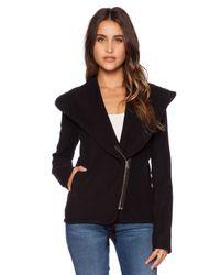 James Perse - Black Knit Twill Moto Jacket - Lyst