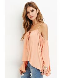 Forever 21 - Pink Drapey Open-shoulder Blouse - Lyst