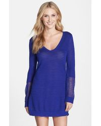 Tommy Bahama - Blue Variegated Texture Cover-up Beach Sweater - Lyst