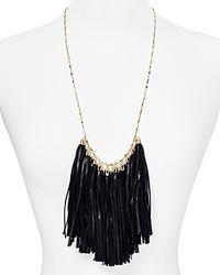 "BaubleBar - Black Leather Tassel Bib Necklace, 24"" - Lyst"