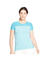 Ralph Lauren - Blue Striped Mesh-yoke Top - Lyst