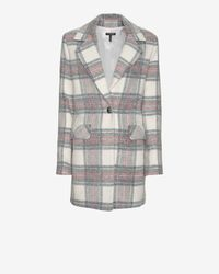 Exclusive For Intermix - Gray Single Breasted Plaid Coat - Lyst