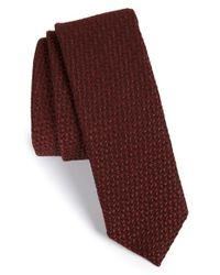 BOSS - Red Grid Wool & Silk Tie for Men - Lyst