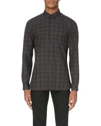 The Kooples - Gray Classic Fit Check-print Cotton Shirt for Men - Lyst