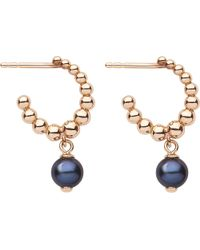 Links of London | Metallic Effervescence Black Pearl 18ct Gold Hoop Earrings | Lyst