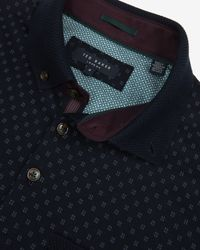 Ted Baker | Blue Knitted Collar Polo Shirt for Men | Lyst