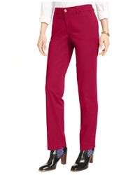 Tommy Hilfiger | Red Straight-leg Chino Pants | Lyst