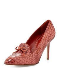 Sergio Rossi - Red Snake-embossed Loafer Pump - Lyst