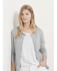 Violeta by Mango - Gray Basic Cardigan - Lyst