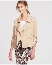 Ann Taylor | Natural Soft Twill Jacket | Lyst