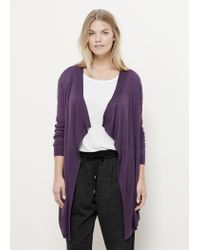 Violeta by Mango - Purple Waterfall Wool-blend Cardigan - Lyst
