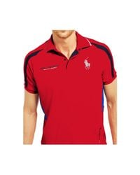 Polo Ralph Lauren | Red Polo Sport Mesh-paneled Jersey Polo for Men | Lyst