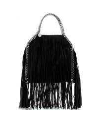 Stella McCartney - Black Falabella Small Fringed Shoulder Bag - Lyst