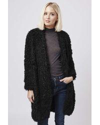 TOPSHOP - Black Aviation Faux Fur Coat By Goldie - Lyst
