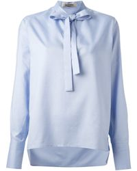 Valentino - Blue Pussy Bow Blouse - Lyst