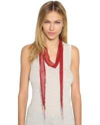 Chan Luu | Red Beaded And Chain Fringed Skinny Scarf | Lyst