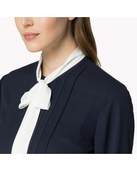 Tommy Hilfiger - Blue Crepe Bow Blouse - Lyst