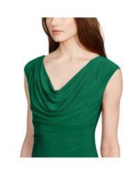 Ralph Lauren - Green Cowlneck Stretch Jersey Dress - Lyst