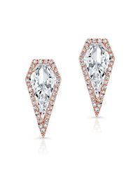Anne Sisteron | Pink 14kt Rose Gold White Topaz Diamond Shield Earrings | Lyst