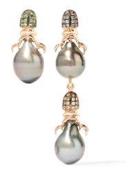 Daniela Villegas - Metallic Siren 18-karat Rose Gold Multi-stone Earrings - Lyst
