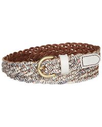 Fossil | Brown Printed Leather Braid Belt | Lyst