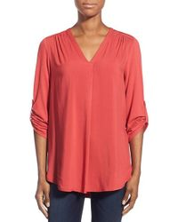 Pleione - Red V-Neck Jersey Tunic - Lyst