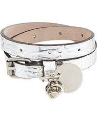 Alexander McQueen - Double Wrap Metallic Leather Bracelet, Women's, Silver - Lyst
