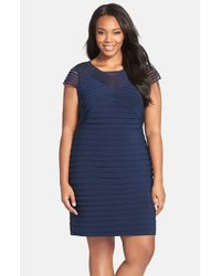 Adrianna Papell | Blue Corded Yoke Pleat Jersey Sheath Dress | Lyst