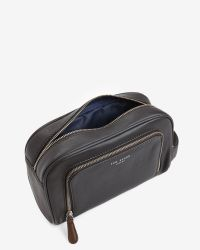 Ted Baker | Black Zip Pocket Leather Wash Bag for Men | Lyst
