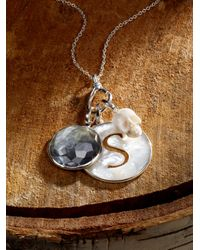 """Ippolita - Metallic Black Shell, Clear Quartz & Sterling Silver Carved """"peace"""" Doublet Charm - Lyst"""