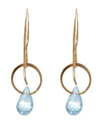 Melissa Joy Manning - Blue Medium Gold And Topaz Single Drop Earrings - Lyst