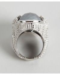 Judith Ripka | Hematite And White Sapphire Fleur-de-lis Oval Ring | Lyst