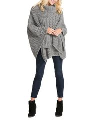 Jessica Simpson | Gray Cable Knit Poncho | Lyst