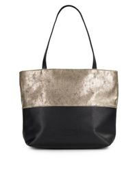 Saks Fifth Avenue - Metallic Colorblock Faux Leather Tote - Lyst