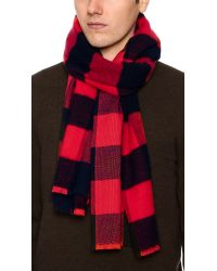Rag & Bone - Red Pixel Plaid Scarf for Men - Lyst
