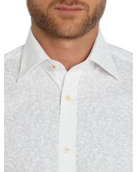 Ted Baker - White Flosho Floral Double Cuff Formal Shirt for Men - Lyst