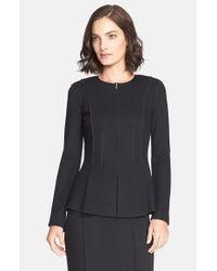 St. John | Black Milano Pique Knit Peplum Jacket | Lyst