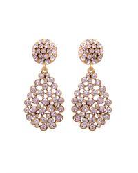 Oscar de la Renta | Pink Pave Teardrop Earring | Lyst