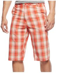 Sean John | Red Flat-front Plaid Shorts for Men | Lyst