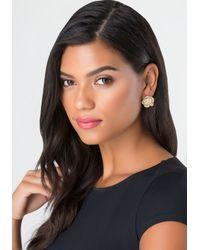 Bebe - Metallic Pave Flower Stud Earrings - Lyst