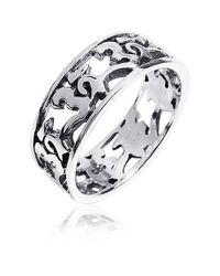 Aeravida - Metallic Peaceful Harmony Aum Or Ohm Symbol .925 Silver Band Ring - Lyst