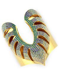 Vince Camuto | Metallic Gold-Tone Drama Ombré Pavé Palm Leaf Cuff Bracelet | Lyst