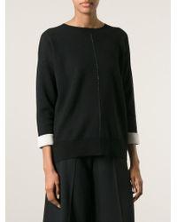 Vince - Black Contrast Cuffs Sweater - Lyst