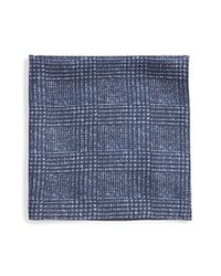BOSS - Blue Plaid Silk Pocket Square for Men - Lyst